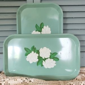 Two Metal Retro Floral Serving Trays Pale Green